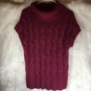 a.n.a Shimmer Hot Pink Turtleneck Sweater